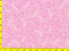 Dark Pink Teapots Teacups Outlines on Pink Fat Quarter CKIRED08360