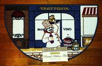 Fat Italian Chef Vino Kitchen Rug Wine Decor Floor Slice Door Mat 17x28 Blue