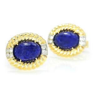 Vintage-Lapis-Lazuli-Men-039-s-Cuff-Links-with-Diamonds-14K-Yellow-Gold-10-30ctw