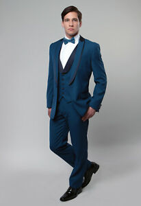 Men S 3 Piece Tuxedo Peak Shawl Lapel Black Tie Wedding Groom Prom