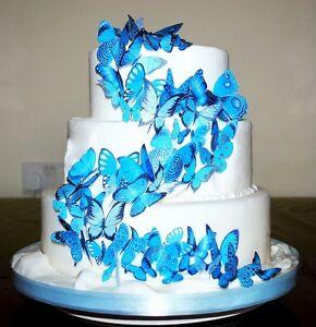 56 x TURQUOISE AQUA EDIBLE BUTTERFLIES IDEAL WEDDING BIRTHDAY CAKE