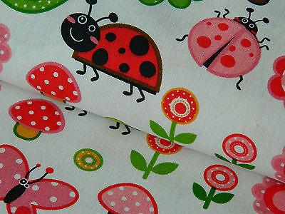 Baumwollstoff Meterware Baumwolle Stoff Marienkäfer Schmetterling grün 50/140cm