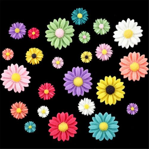 20 pcs Mixed Resin Cabochons Daisy Shaped Flatback Flower Decorations 8-27mm