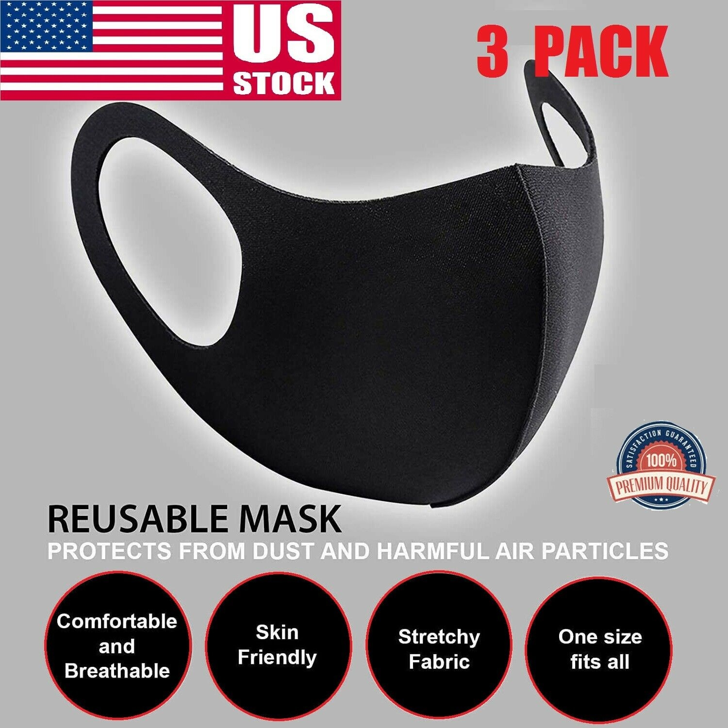 3Pcs Black Face Mask Stretch Fabric Thin Cover Mouth Reusable Washable Unisex US