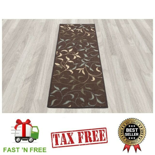 Non Slip Carpet Runner Long Modern Design Rug Hallway Kitchen Area Rubber Mat
