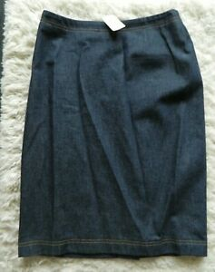 NWT Escada Margaretha Ley Womens Denim Knee Length Pencil Skirt Blue Size 36