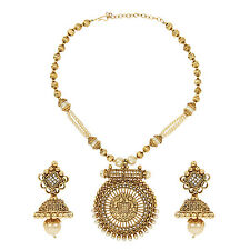 Ethnic Indian  Fashion Jewelry Set Golden Engraved Pearl Necklace Set:ORNE0288WH
