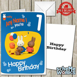 Image Is Loading Miffy Personalised Greeting Birthday Card Free Envelope Bunny