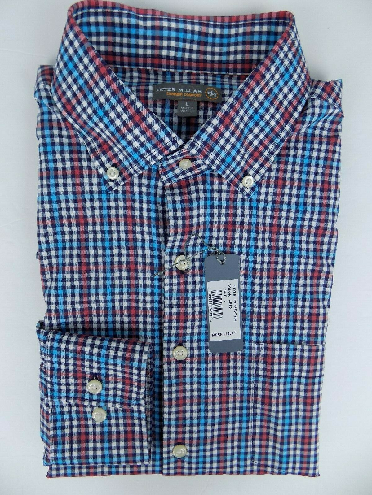 35adf1869703 NWT Peter Millar Summer Comfort LS Button Down Shirt Multicolor Size-Large