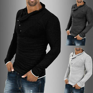 Hot-Fashion-Mens-Tops-Slim-Fit-Casual-T-shirts-Shirt-Long-Sleeve-Cotton-Tee