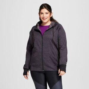 10283ed44bd c9 Champion women s Plus Size Tech Fleece Zip Jacket Black Space Dye ...