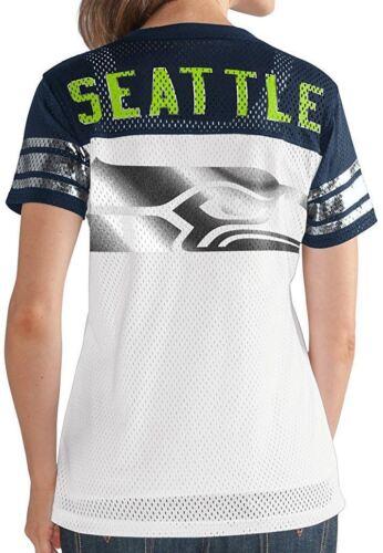 Seattle Seahawks Women/'s T-Shirt Mesh Jersey NFL All American V-Neck G-III White