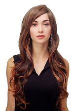 Perruque Noir-Brun Mélange boucles longue raie sur le côté 70 cm 9204S-2T114
