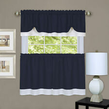 Darcy 3 pc tier & valance set kitchen curtain textured double layer navy /white