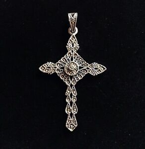 Quality Sterling Silver marcasite Cross Crucifix Christian Pendant Vintage style
