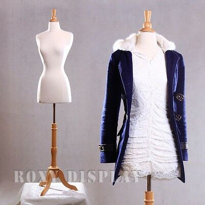 Size 6-8 Female Mannequin Dress Form+Maple Wood Base #FWP-W-JF + BS-01NX