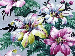 SALE! Miniature Stargazer Lilies Barkcloth Vintage Fabric Unused Old Stock 30's