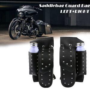 Rivet-Saddlebag-Guard-Bag-Water-Bottle-Holder-For-Harley-Touring-Road-King-Glide
