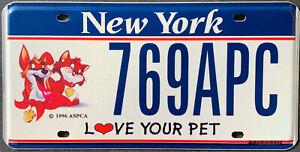 USA Nummernschild NEW YORK LOVE YOUR PET - HUND KATZE CARTOON US Kennzeichen