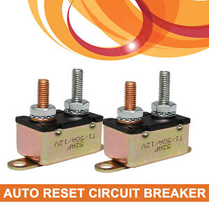 2 x 50a 12v auto automatic reset circuit breaker 50 amp fuse stud bolt type ebay. Black Bedroom Furniture Sets. Home Design Ideas