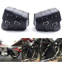 Black Motorcycle Leather Rider Studded Saddle Bag Tool Bag For Harley Honda Atv
