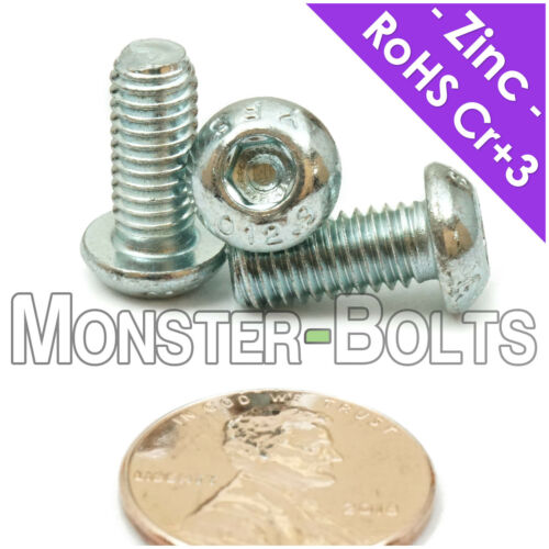 M6 x 14mm Zinc Button Head Socket Cap Screws 12.9 Alloy Steel Cr+3 Bake ISO 7380
