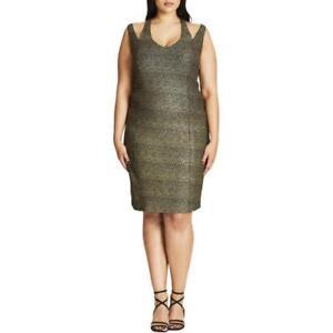 City Chic Plus Size Metallic Glam Bodycon Dress 16W (Small) Black ... f9d4703fc