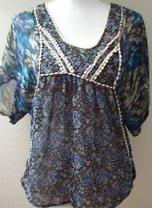 top-blouse-large-l-blue-purple-print-sheer-casual-lightweight-womens-brown