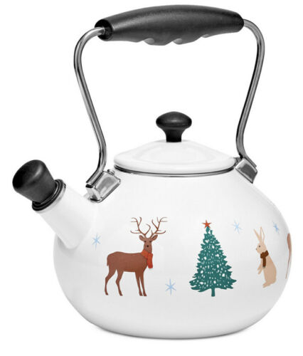 Christmas Holiday Tea Pot Kettle Enamel on Steel Martha Stewart Collection 2-Qt