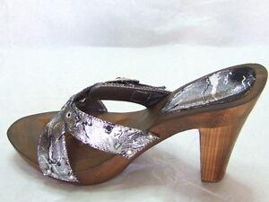 Sexy-scarpe-sandalo-zoccoli-nero-argentato-tacco-alto-11cm-con-strass-n-38