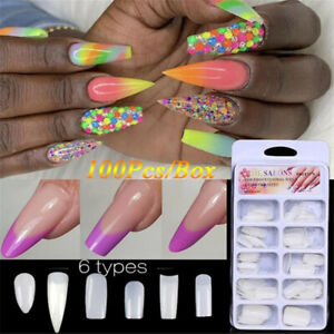 Coffin-Acrylic-Half-Style-Manicure-Tools-UV-Gel-False-Nail-Tips-Fake-Nails