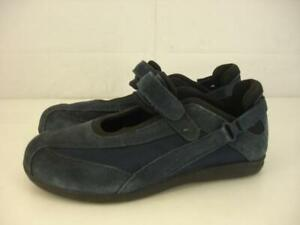 Drew-Womens-7-5-W-Wide-Joy-Navy-Blue-Suede-Leather-Mary-Jane-Comfort-Shoes-Flats