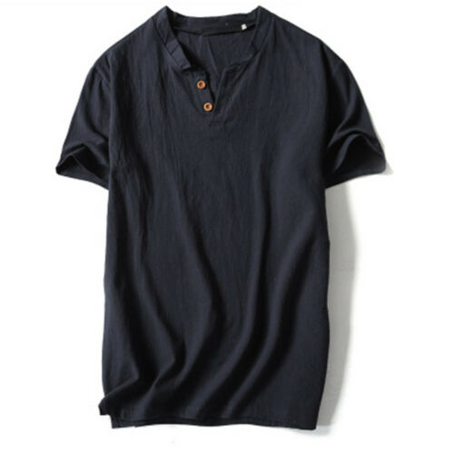 UK Men/'s Linen Short Sleeve Solid Shirts Casual Loose Dress Soft Tops Blouse Tee