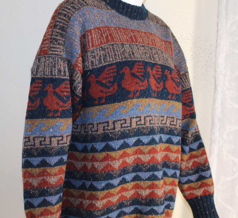 Judith Glue Scotland Fiber Artist Sz L XL Art-to-Wear Hand-Loomed Luxury Sweater