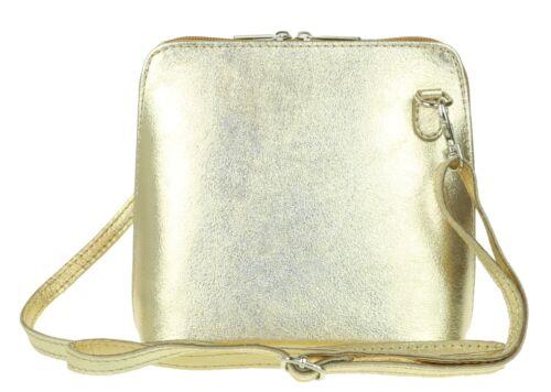 Small Genuine Leather Vera Pelle Cross Body Metallic Rose Gold Shimmer Shoulder