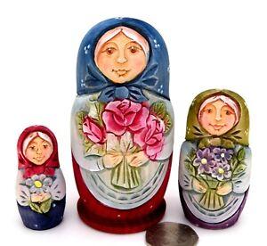 Martyoshka-Russian-nesting-dolls-small-3-HAND-CARVED-Beautiful-MATT-signed