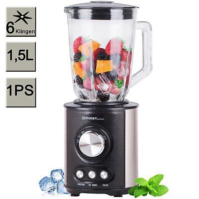 Glas Standmixer 1,5 Liter 800 Watt Edelstahl schwarz,Ice-Crucher, Smoothie Maker