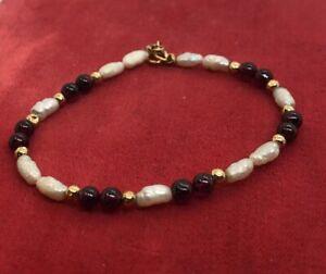 14k-Gold-Estate-Vintage-Bracelet-Red-Garnet-Rice-Pearls-6-5