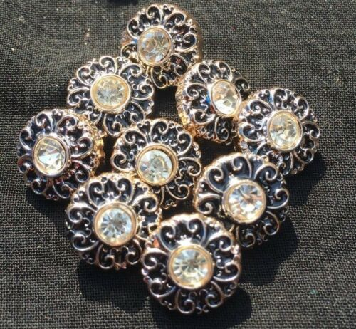 5 x Buttons Pretty Diamantes Flower Vintage Coat Shirt Dress Bag 12mm