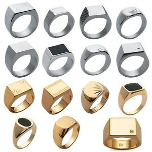 Chevaliere-Man-Steel-or-New-Gold-Plated-14-Models-and-Any-Size