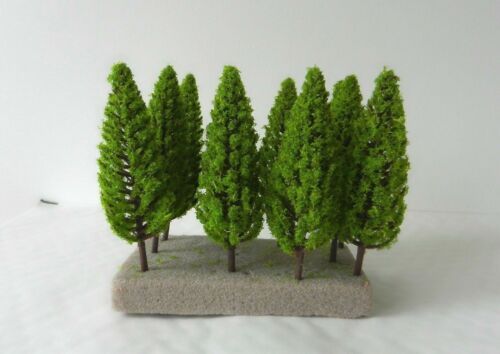 10 x SLIM MODEL FIR TREES 9.5 cm SCENERY FOR MODEL RAILWAY OO HO SCALE NEW B9
