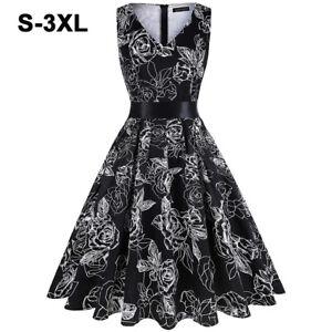 Women's Vintage V-neck 50s Retro Rockabilly Floral Print Swing Party Black Dress