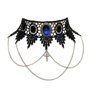 Sapphire-blue-gothic-choker-necklace-lace-victorian-steampunk-chains-cross