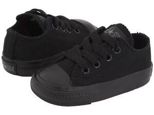 a4b95df4917e Converse Chuck Taylor Ox Top Black Mono Infant Toddler Boys Girls ...