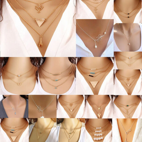 Hot Multilayer Chain Pendants Necklace for Charm Women Party Article Necklace