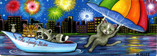Raccoon Kitten Parasailing Ocean Party City Fireworks Double ACEO Painting Print