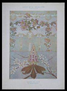 JUGENDSTIL-ORNAMENTE-BLUMEN-1901-LITHOGRAPHIE-ART-NOUVEAU-SCHAUER
