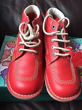 Kickers Kick High Red Lightly Worn UK 6 EU 39 Kids Unisex Ladies Leather Boots