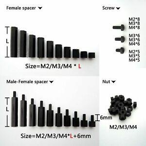 25-100pcs-Black-Plastic-Nylon-M2-M3-M4-Hex-Column-Standoff-Spacer-Phillips-Screw