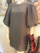 Hugo Boss balloon sleeve linen rayon tunic top dress charcoal gray 2 XS pockets